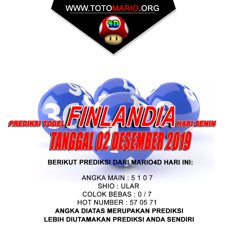 PREDIKSI FINLANDIA LOTTERY 02 DESEMBER 2019