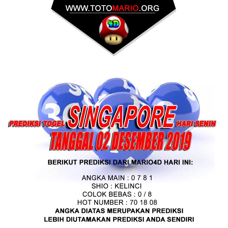 PREDIKSI SINGAPORE POOLS 02 DESEMBER 2019