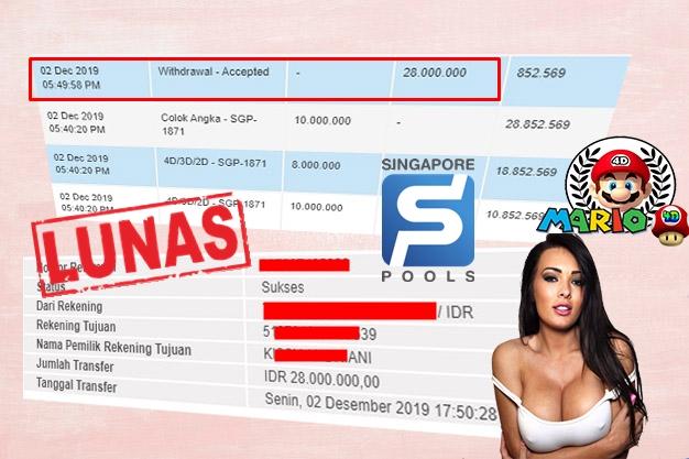 Member Jackpot Togel Singapore Pools 02 DESEMBER 2019