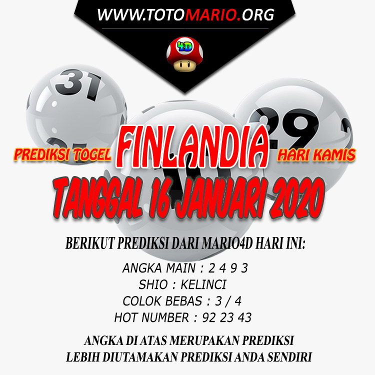 PREDIKSI FINLANDIA LOTTERY 16 JANUARI 2020